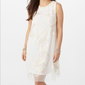 🎀 Embroidered Mesh Pearl-Neck Dress 🎀